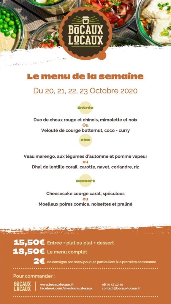 Menu Bocaux Locaux - 20, 21, 22, 23 Octobre 2020