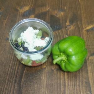 Salade grecque, poivron, concombre, féta